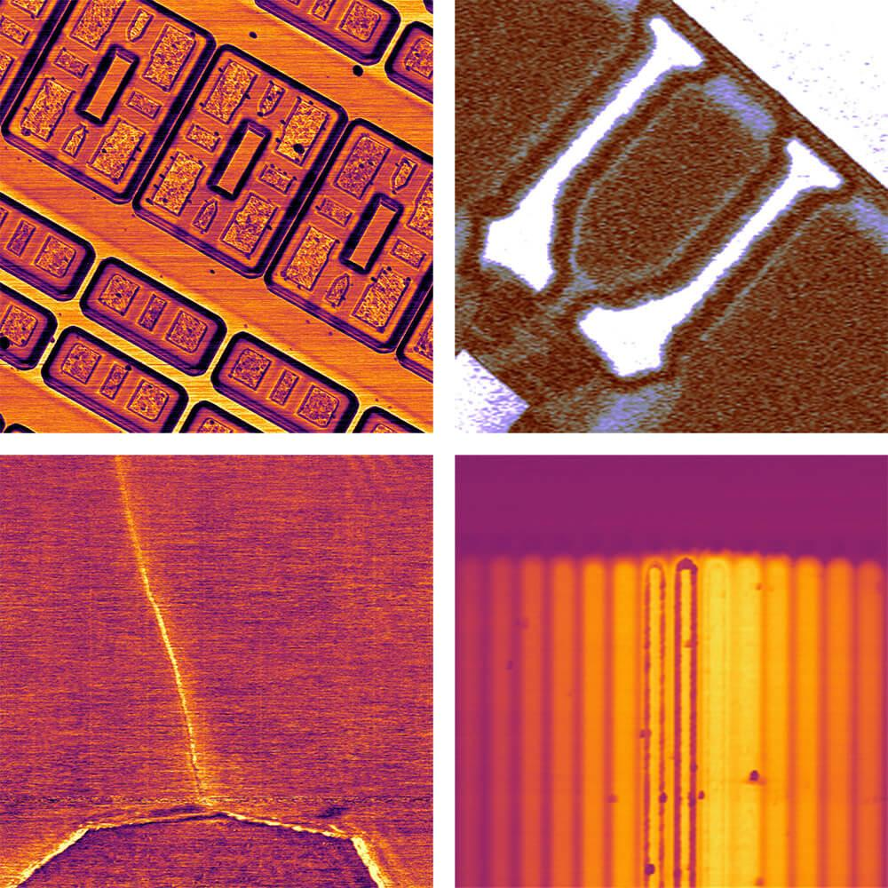 AFM SCM images of direct capacitance, fast scanned SCM, dopant staircase sample, and a carbon nanotube