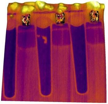 semiconductor transistor device imaged using scanning microwave impedance microscopy (sMIM)