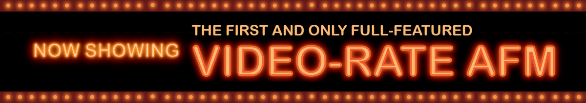 Banner for Cypher VRS that says Now Showing: The First and Only Full-Featured Video-Rate AFM