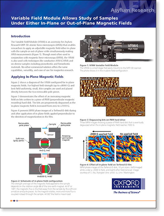 Datasheet describes the Variable Field Module (VFM4) for applying external magnetic fields on MFP-3D atomic force microscopes